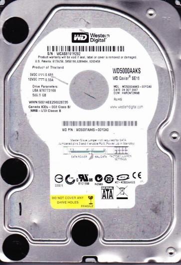 WD5000AAKS-00YGA0, DCM HARCNT2MAB, Western Digital 500GB SATA 3.5 Hard Drive