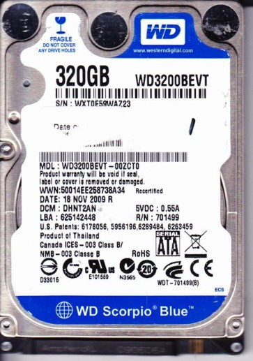 WD3200BEVT-00ZCT0, DCM DHNT2AN, Western Digital 320GB SATA 2.5 Hard Drive
