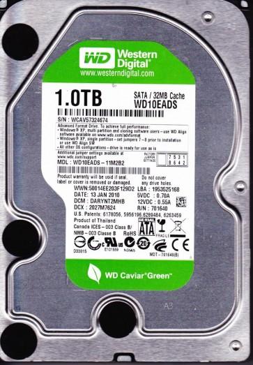 WD10EADS-11M2B2, DCM DARYNT2MHB, Western Digital 1TB SATA 3.5 Hard Drive