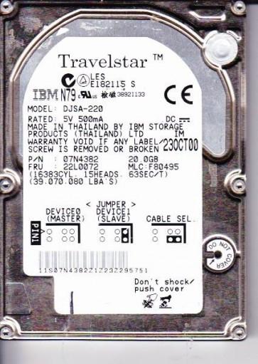 DJSA-220, PN 07N4382, MLC F80495, IBM 20GB IDE 2.5 Hard Drive