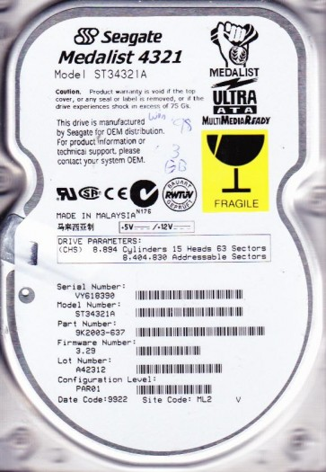 ST34321A, VY6, ML2, PN 9K2003-637, FW 3.29, Seagate 4.3GB IDE 3.5 Hard Drive
