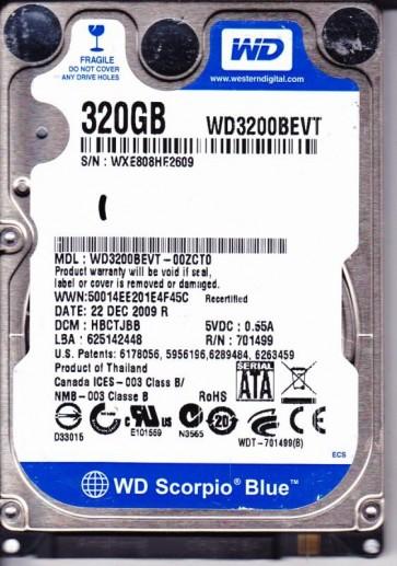 WD3200BEVT-00ZCT0, DCM HBCTJBB, Western Digital 320GB SATA 2.5 Hard Drive