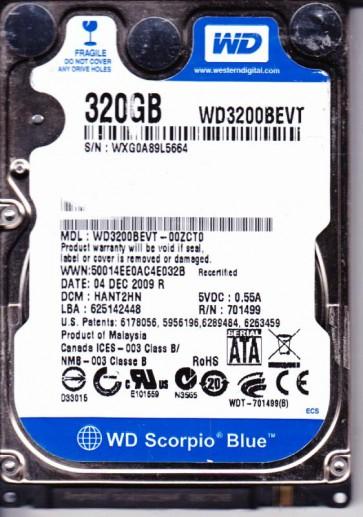 WD3200BEVT-00ZCT0, DCM HANT2HN, Western Digital 320GB SATA 2.5 Hard Drive
