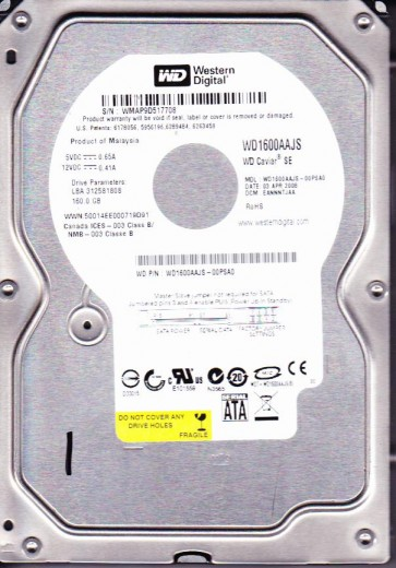 WD1600AAJS-00PSA0, DCM EANNNTJAA, Western Digital 160GB SATA 3.5 Hard Drive