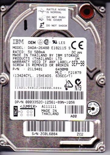 DADA-26480, PN 21L9481, MLC F21879, IBM 6.5GB IDE 2.5 Hard Drive