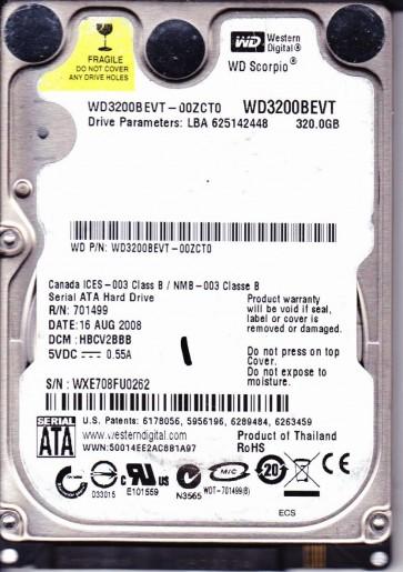 WD3200BEVT-00ZCT0, DCM HBCV2BBB, Western Digital 320GB SATA 2.5 Hard Drive