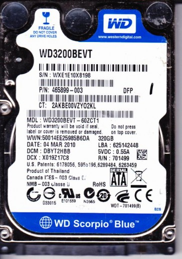 WD3200BEVT-60ZCT1, DCM DBYT2HBB, Western Digital 320GB SATA 2.5 Hard Drive