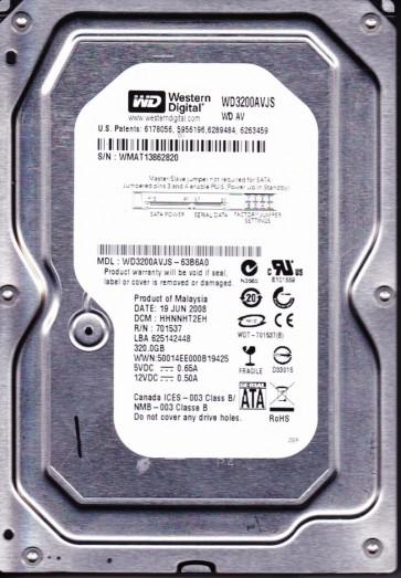 WD3200AVJS-63B6A0, DCM HHNNHT2EH, Western Digital 320GB SATA 3.5 Hard Drive