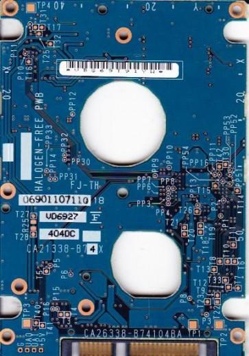 MHV2080BH PL, PN CA06672-B23300DL, Fujitsu 80GB SATA 2.5 PCB