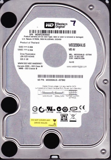 WD3200AVJS-63TBA0, HANCHVJCBN, Western Digital 320GB SATA 3.5 Hard Drive