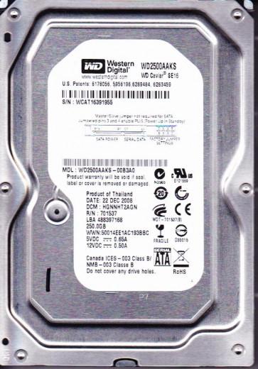 WD2500AAKS-00B3A0, DCM HGNNHT2AGN, Western Digital 250GB SATA 3.5 Hard Drive