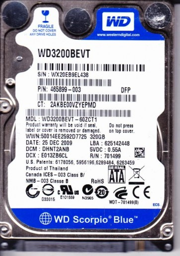 WD3200BEVT-60ZCT1, DCM DHNT2ANB, Western Digital 320GB SATA 2.5 Hard Drive