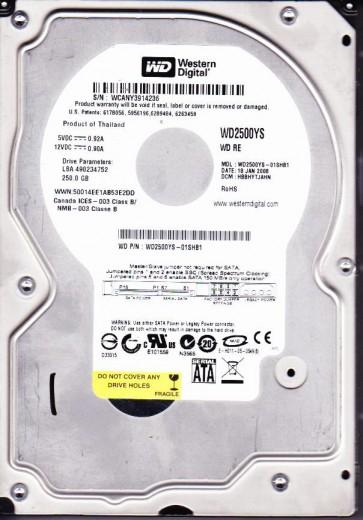 WD2500YS-01SHB1, DCM HBBHYTJAHN, Western Digital 250GB SATA 3.5 Hard Drive