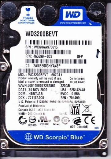 WD3200BEVT-60ZCT1, DCM HBNTJAB, Western Digital 320GB SATA 2.5 Hard Drive