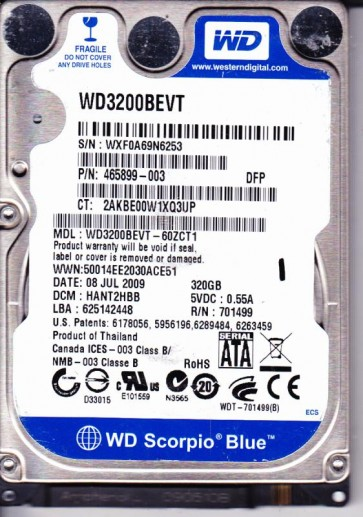 WD3200BEVT-60ZCT1, DCM HANT2HBB, Western Digital 320GB SATA 2.5 Hard Drive