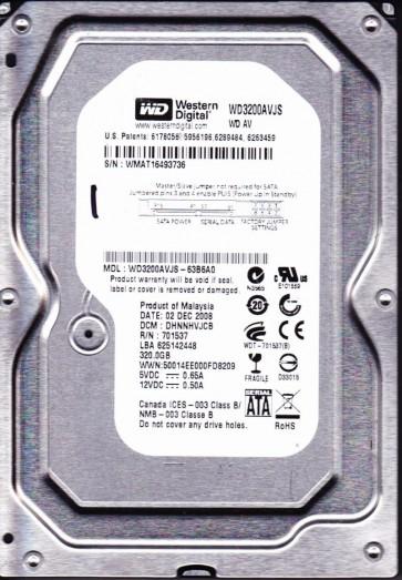 WD3200AVJS-63B6A0, DCM DHNNHVJCB, Western Digital 320GB SATA 3.5 Hard Drive