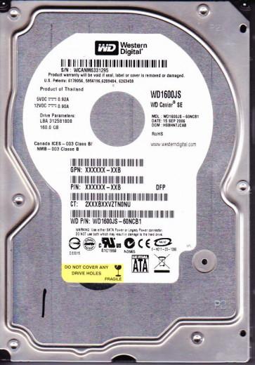 WD1600JS-60NCB1, DCM HSBHNTJCAB, Western Digital 160GB SATA 3.5 Hard Drive