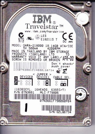 DARA-218000, PN 07N3661, MLC F79806, IBM 18.1GB IDE 2.5 Hard Drive