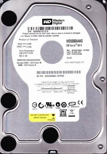 WD5000AAKS-00TMA0, DCM HHRCHV2AAB, Western Digital 500GB SATA 3.5 Hard Drive