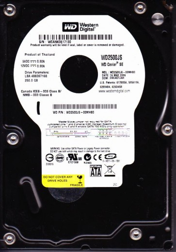 WD2500JS-00MHB0, DCM DSCACTJAH, Western Digital 250GB SATA 3.5 Hard Drive