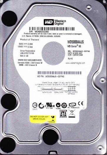 WD5000AAJS-00YFA0, DCM DARCNT2AAB, Western Digital 500GB SATA 3.5 Hard Drive