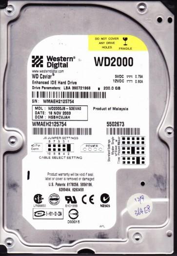 WD2000JB-53EVA0, DCM HSBHCVJAH, Western Digital 200GB IDE 3.5 Hard Drive