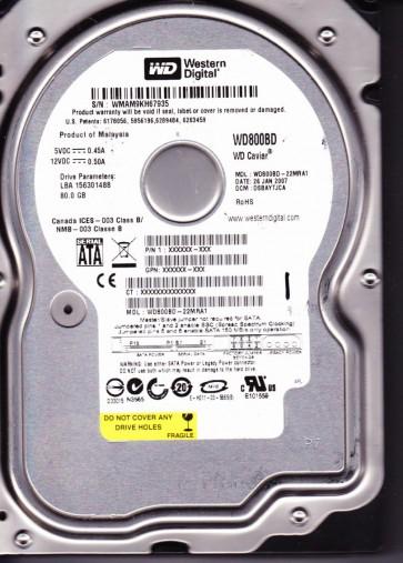 WD800BD-22MRA1, DCM DSBAYTJCA, Western Digital 80GB SATA 3.5 Hard Drive