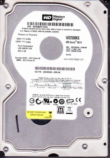 WD2500KS-00MJB0, DCM DBBANT2CAN, Western Digital 250GB SATA 3.5 Hard Drive