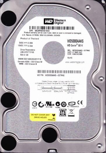 WD5000AAKS-00TMA0, DCM HANCHV2ABB, Western Digital 500GB SATA 3.5 Hard Drive