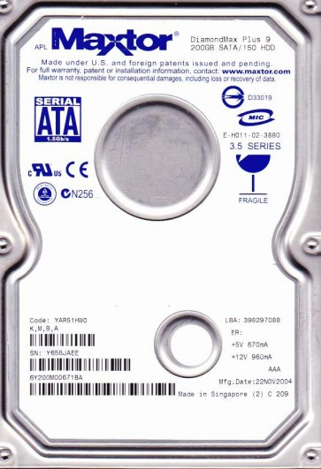 6Y200M0, Code YAR51HW0, KMBA, Maxtor 200GB SATA 3.5 Hard Drive