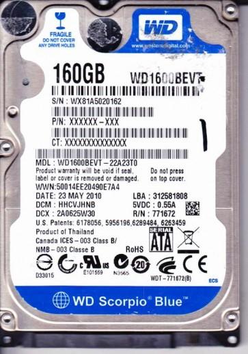 WD1600BEVT-22A23T0, DCM HHCVJHNB, Western Digital 160GB SATA 2.5 Hard Drive