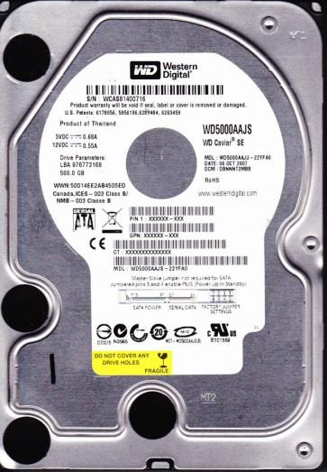 WD5000AAJS-22YFA0, DCM DBNNNT2MBB, Western Digital 500GB SATA 3.5 Hard Drive