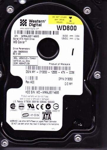 WD800JD-75HKA1, DCM HSBHCTJCB, Western Digital 80GB SATA 3.5 Hard Drive
