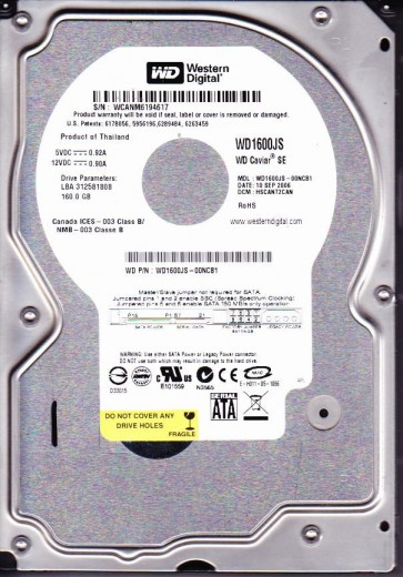 WD1600JS-00NCB1, DCM HSCANT2CAN, Western Digital 160GB SATA 3.5 Hard Drive