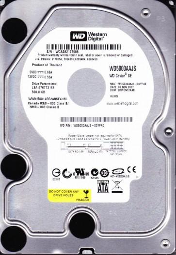 WD5000AAJS-00YFA0, DCM DHRCNT2AAB, Western Digital 500GB SATA 3.5 Hard Drive
