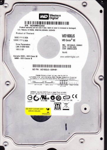 WD1600JS-55MHB1, DCM DBBHCTJAHB, Western Digital 160GB SATA 3.5 Hard Drive