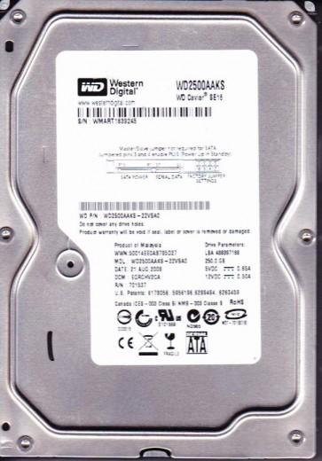 WD2500AAKS-22VSA0, DCM EGRCHV2CA, Western Digital 250GB SATA 3.5 Hard Drive