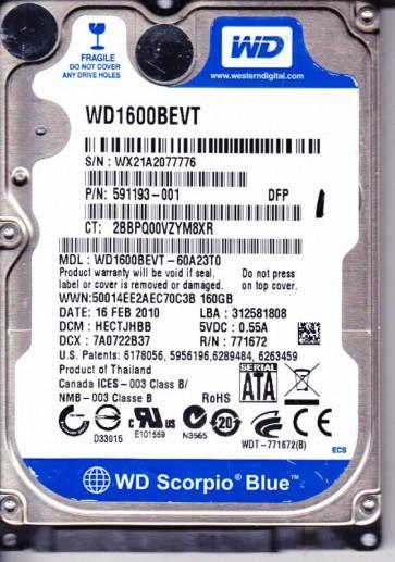 WD1600BEVT-60A23T0, DCM HECTJHBB, Western Digital 160GB SATA 2.5 Hard Drive