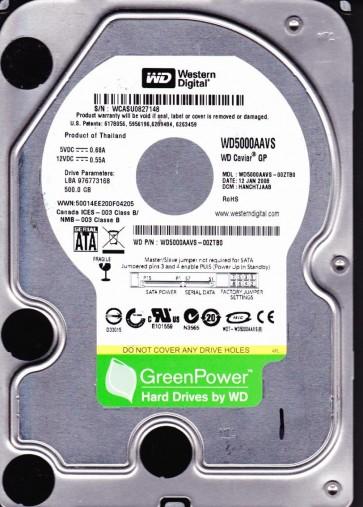 WD5000AAVS-00ZTB0, DCM HANCHTJAAB, Western Digital 500GB SATA 3.5 Hard Drive
