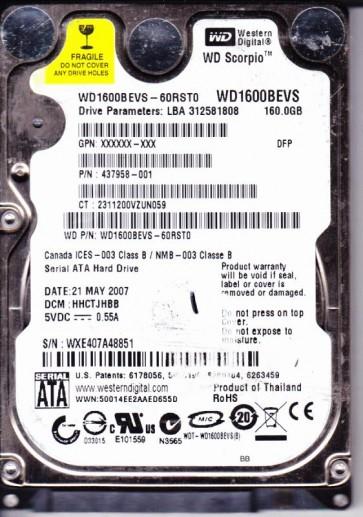 WD1600BEVS-60RST0, DCM HHCTJHBB, Western Digital 160GB SATA 2.5 Hard Drive