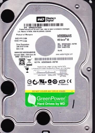 WD5000AAVS-00ZTB0, DCM HHNCHT2CB, Western Digital 500GB SATA 3.5 Hard Drive