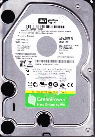 WD5000AVVS-63H0B1, HANNNTJMHB, Western Digital 500GB SATA 3.5 Hard Drive
