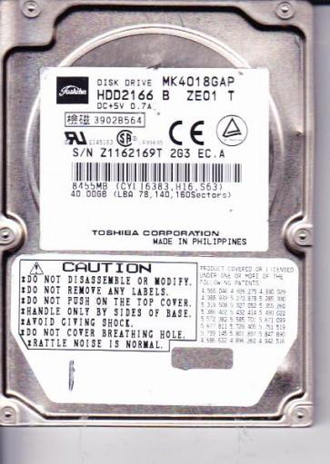 MK4018GAP, A0/M0.03A, HDD2166 B ZE01 T, Toshiba 40GB IDE 2.5 Hard Drive