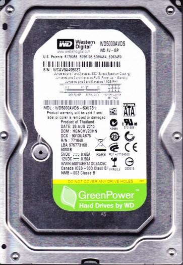 WD5000AVDS-63U7B1, DCM HGNCHV2CHN, Western Digital 500GB SATA 3.5 Hard Drive