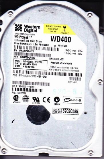 WD400EB-11CPF0, DCM HSCBCV2A, Western Digital 40GB IDE 3.5 Hard Drive