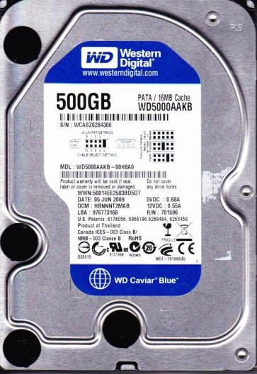 WD5000AAKB-00H8A0, DCM HBNNNT2MAB, Western Digital 500GB IDE 3.5 Hard Drive