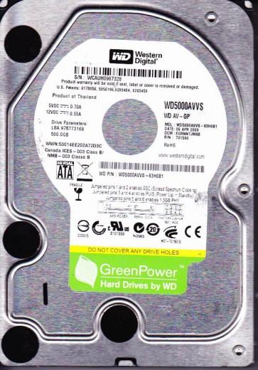 WD5000AVVS-63H0B1, DCM EGRNNTJMAB, Western Digital 500GB SATA 3.5 Hard Drive