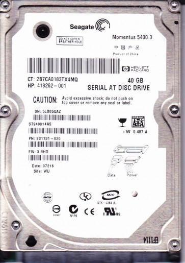 ST940814AS, 5LX, WU, PN 9S1131-020, FW 3.BHD, Seagate 40GB SATA 2.5 Hard Drive