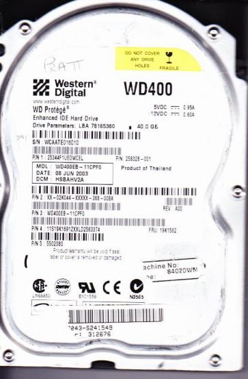 WD400EB-11CPF0, DCM HSBAHV2A, Western Digital 40GB IDE 3.5 Hard Drive