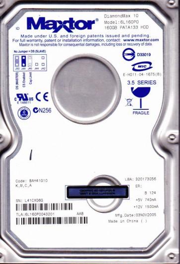 6L160P0, Code BAH41G10, KMCA, Maxtor 160GBG IDE 3.5 Hard Drive